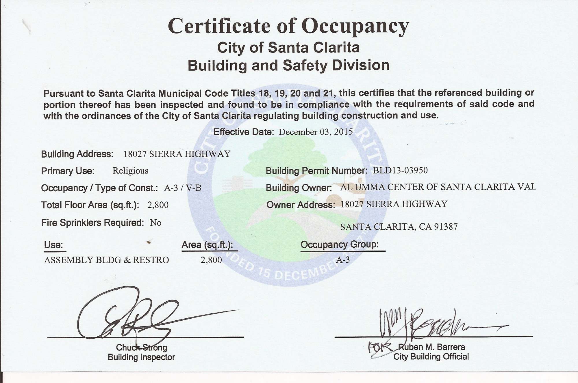Certificate of Occoupancy